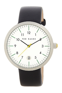 Ted Baker London - Round Dial Leather Strap Watch