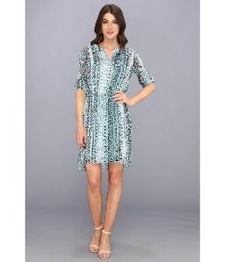 TWO by Vince Camuto - 3/4 Sleeve Folk Geo Maxi Dress
