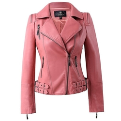 Ling Luo Fang - Faux Leather Moto Jacket
