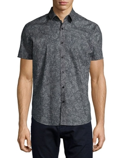 Theory - Printed Short-Sleeve Woven Shirt