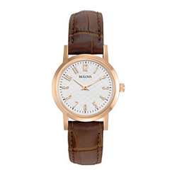 Bulova - Rose-Tone Brown Leather Strap Watch