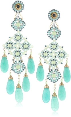 Miguel Ases - Prehnite Green Quartz Chandelier Drop Earrings