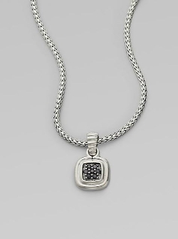 John Hardy - Bedeg Black Sapphire & Sterling Silver Small Square Pendant Necklace