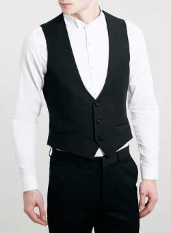 Topman - Black Jacquard Tuxedo Vest
