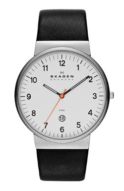 Skagen - Ancher Round Leather Strap Watch