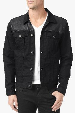 7 For All Mankind - LEATHER PANELED JEAN JACKET IN NO FADE BLACK BLACK BLACK