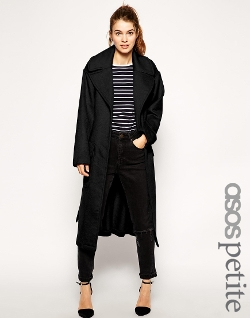 Asos Petite - Tie Front And Patch Pockets Coat