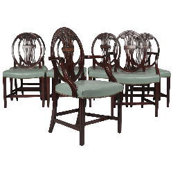 Silla Fine Antiques  - Set of Ten English Hepplewhite Style Carved Mahogany Dining Chairs
