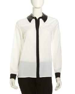 Chelsea & Theodore -  Long Sleeve Contrast Trim Blouse, White