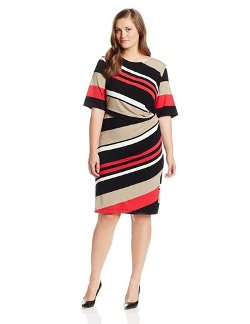Gabby Skye - Diagonal-Striped Sheath Dress