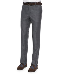 Brunello Cucinelli - Flat-Front Wool Trousers, Dark Gray