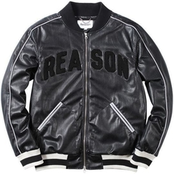 Reason Clothing - Reason Arc Perf Leather Varsity Jacket