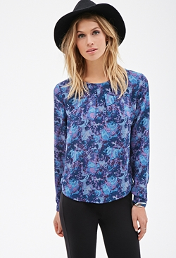 Forever 21 - Abstract-Watercolor Print Blouse