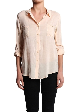 Themogan - Dual Pocket Button Down Blouse