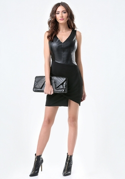 Bebe - Faux Leather Wrap Dress