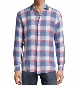 Culturata  - Plaid Linen Long-Sleeve Sport Shirt
