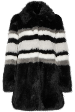 Ainea  - Striped Faux Fur Coat
