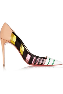 Christian Louboutin - Bandy 100 Striped Leather And Pvc Pumps