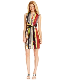 Ellen Tracy - Tie-Wrap Printed Dress