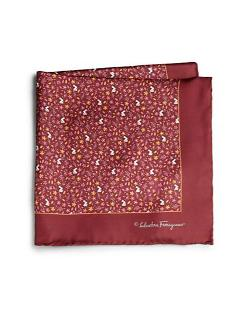 Salvatore Ferragamo - Ramage Floral Silk Pocket Square