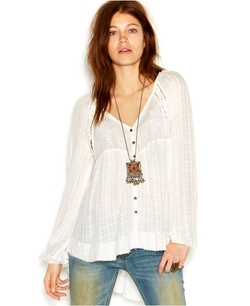 Free People - Long-Sleeve V-Neck Sheer Top