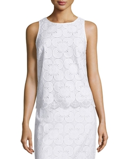 Trina Turk - Sleeveless Lace Scalloped-Hem Top