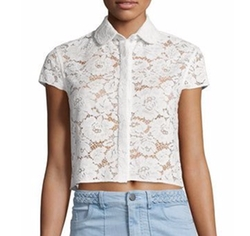 Alice + Olivia - Loni Short-Sleeve Lace Top