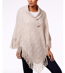Karen Scott - Cable-Knit Fringe Poncho