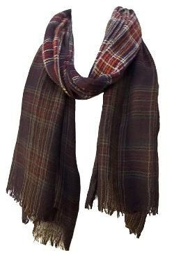 Steel Paisley - Plaid Check Ombre Lightweight Wool Muffler Scarf
