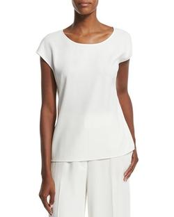 Escada - Cap-Sleeve Round-Neck Shell Shirt