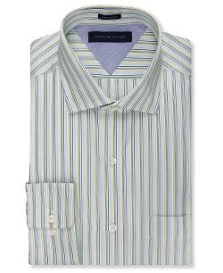 Tommy Hilfiger  - Slim-Fit Green Multi-Stripe Dress Shirt