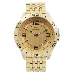 Territory - Classic Round Face Basketweave Metal Link Watch