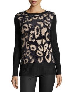 Catherine Catherine Malandrino - Fuzzy Animal-Spot Sweater