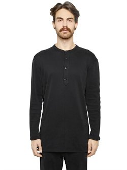 Maison Martin Margiela  - Cotton Jersey Long Henley Shirt
