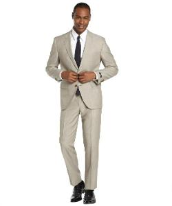 Hugo Boss  - Medium Beige Virgin Wool and Linen Blend 2-Button Suit with Flat Front Pants