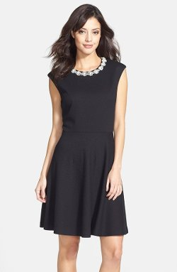 Betsey Johnson  - Embellished Textured Fit & Flare Dress