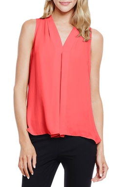 Vince Camuto - Pleat Front V-Neck Blouse