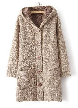 Sheinside - Grey Hooded Long Sleeve Pockets Cardigan Sweater