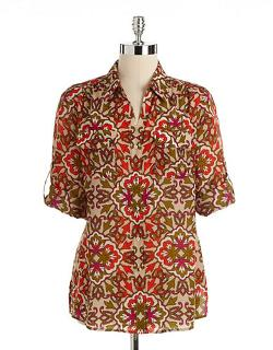 Jones New York Petites - Petite Floral Print Roll-Tab Sleeved Button-Front Blouse