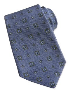 Kiton   - Medallion-Pattern Chambray Tie
