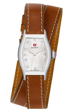 MICHELE  - Leather Double Wrap Watch Strap