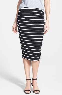 Caslon - Side Ruched Stretch Knit Midi Skirt