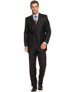 Ralph Lauren  - Black Solid Vested Slim Fit