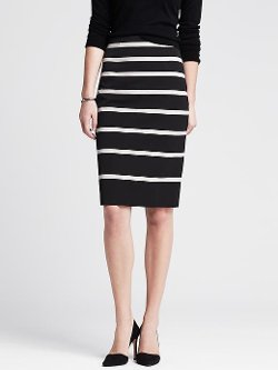 Banana Republic - Sloan-Fit Horizontal Stripe Pencil Skirt