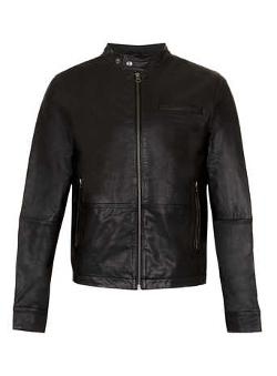 Topman - Black Funnel Neck Leather Biker Jacket