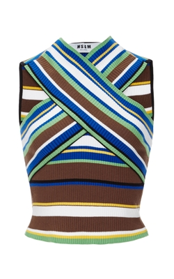 MSGM  - Cotton Ribbed Cross Front Top