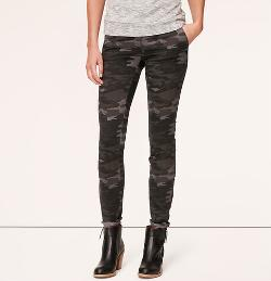 Loft - Petite Camo Print Tailored Twill Skinny Pants