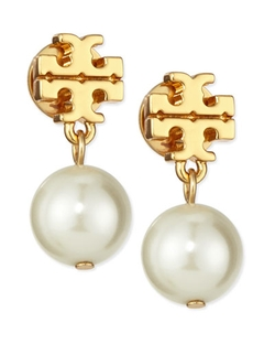 Tory Burch   - Logo & Simulated Pearl-Drop Earrings