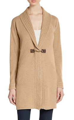 Saks Fifth Avenue  - Cable Knit-Trimmed Cashmere Cardigan