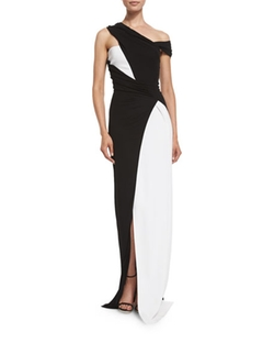 Mugler  - Colorblock Draped One-Shoulder Gown